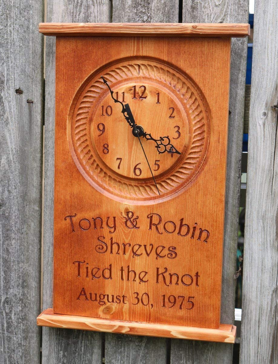 Wedding Anniversary Family Name Est Custom Engraved Tied the Knot Wall Clock