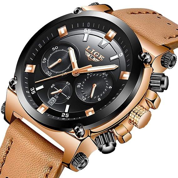 Relojes Hombre Reloj de Pulsera de Cuero Reloj Elegante Analógico de Cuarzo Cronógrafo Reloj Deportivo Militar Negocios Multifuncional Impermeable para ...