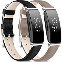 [2 Pack] Leather Bands Compatible with Fitbit Inspire HR Bands for Women Men, Replacement Leather Bands for Fitbit Inspire & Fitbit Ace 2 & Fitbit Inspire HR (Black, Gray)
