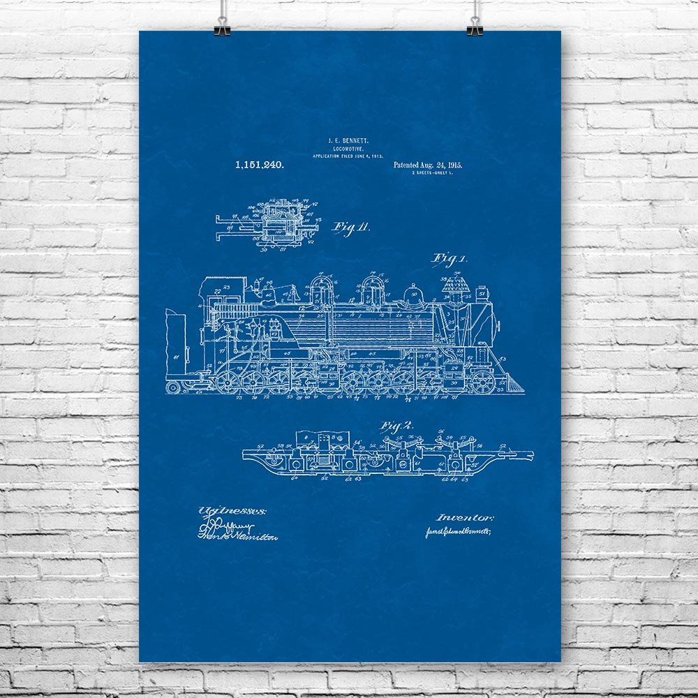 Steam Locomotive Poster Print, Train Conductor, Railway Worker, Train Blueprint, Steam Engine Train, Vintage Railroad