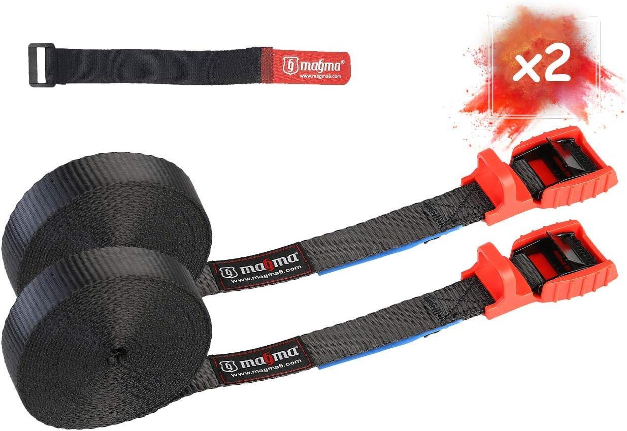 MAGMA Pack 2 Cinchas de Amarre de 5m | Correas para Baca Coche y Portabicicletas. Surf, Bici, Kayak, Moto | Hebilla -Trinquete con Protección de Goma para no rayar | Carga Segura - SWL: 250kgf Rojo