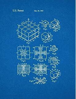 Amazon lego toy building block patent print art poster rubik cube toy patent print art poster blueprint 85 x malvernweather Choice Image