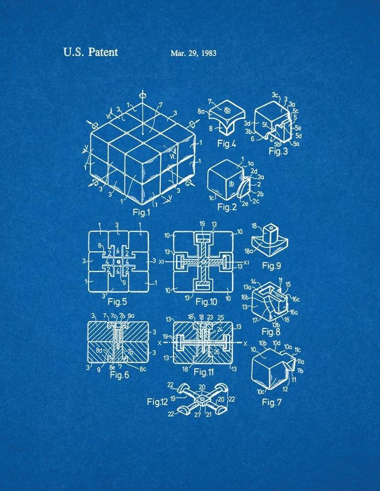 Amazon rubik cube toy patent print art poster blueprint 85 x amazon rubik cube toy patent print art poster blueprint 85 x 11 posters prints malvernweather Gallery