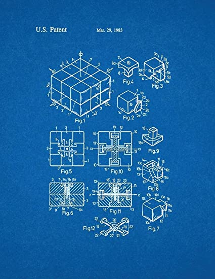 Amazon rubik cube toy patent print art poster blueprint 85 x rubik cube toy patent print art poster blueprint 85quot malvernweather Image collections