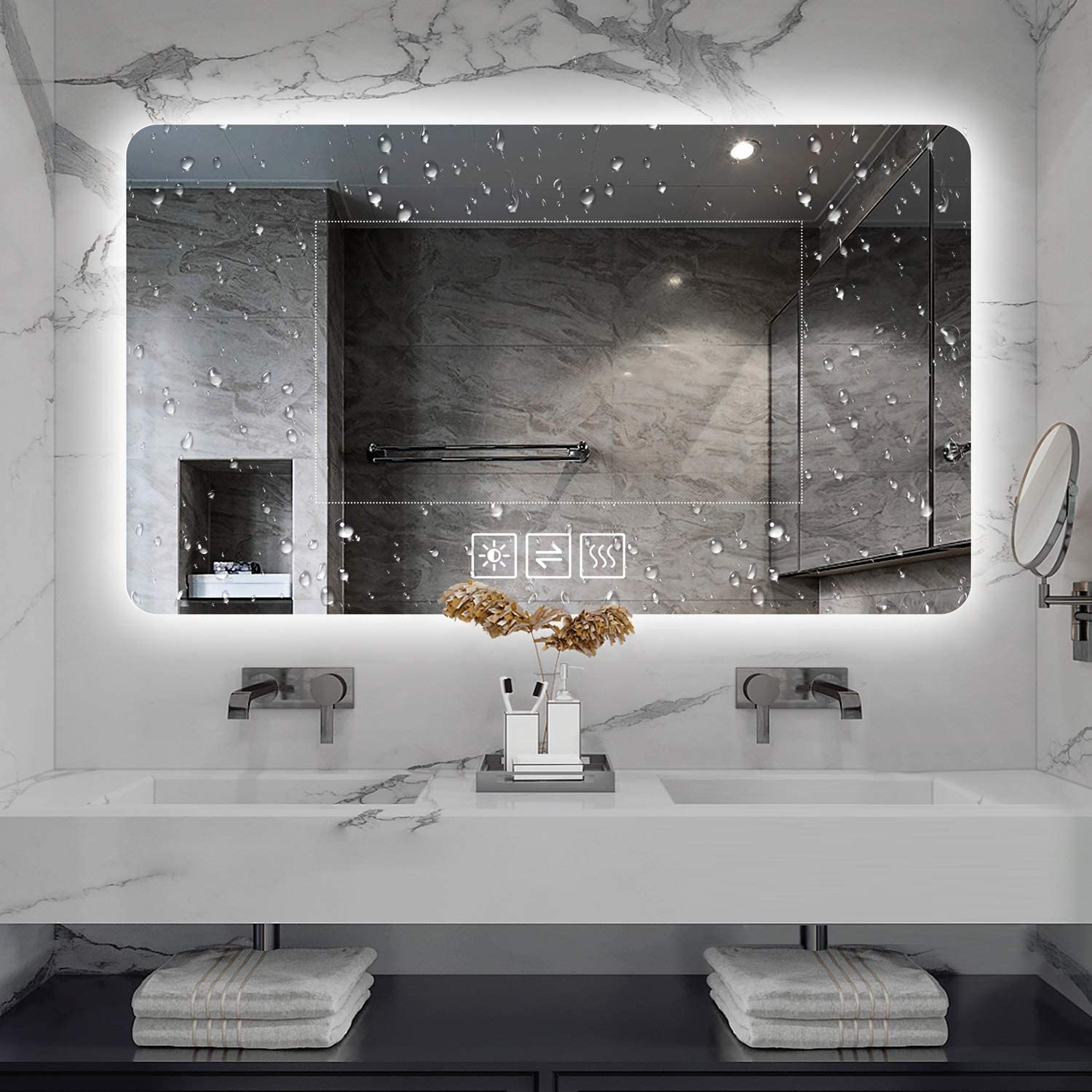 """LAIYA 36""""28"""" Bathroom Mirror Mirror with Light Wall-Mounted Led Mirrors Bathroom Bedroom Anti-Fog Waterproof for Home,Hotel and Office Use Brightness, Light Adjustment Intelligent Touch Button"""