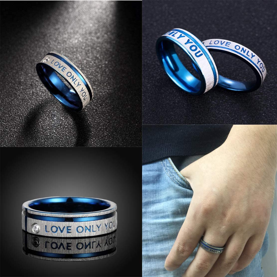 Netmetoo His Hers Promise Rings Couples Rings Love Only You Engraved Girlfriend Boyfriend Gift Blue Stainless Steel
