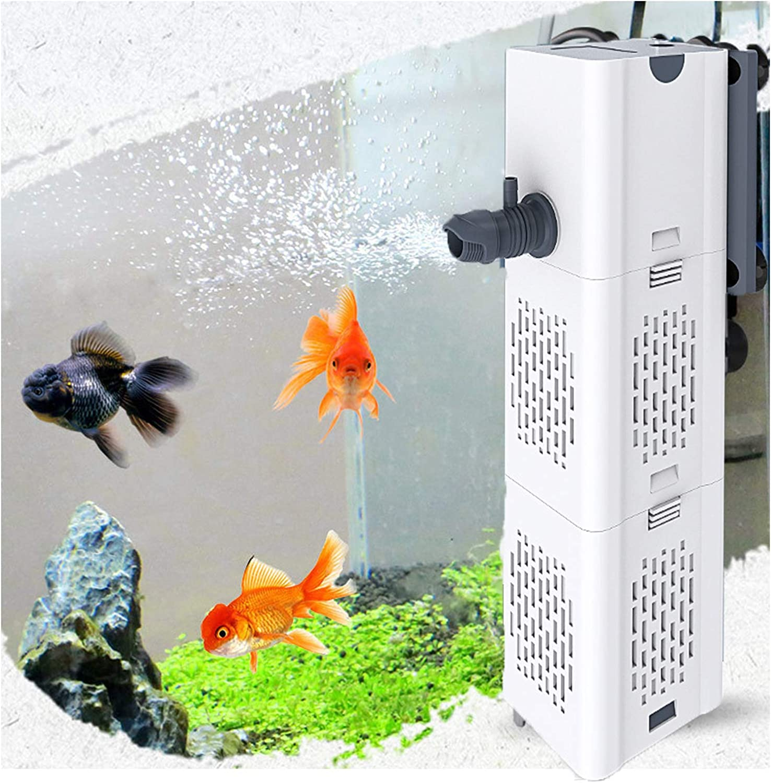 Ultra Quiet Fish Tank Filter 4-in-1 Internal Aquarium Filter,500-1800L/H Submersible Water Pump Oxygen Aeration Wave Maker Water Change for Betta, Turtle, Pond Fish, Garden.