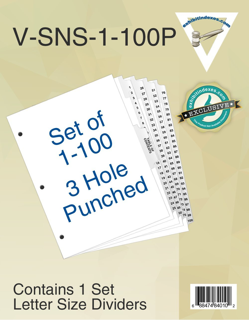 Numbered Dividers 1-100 Punched