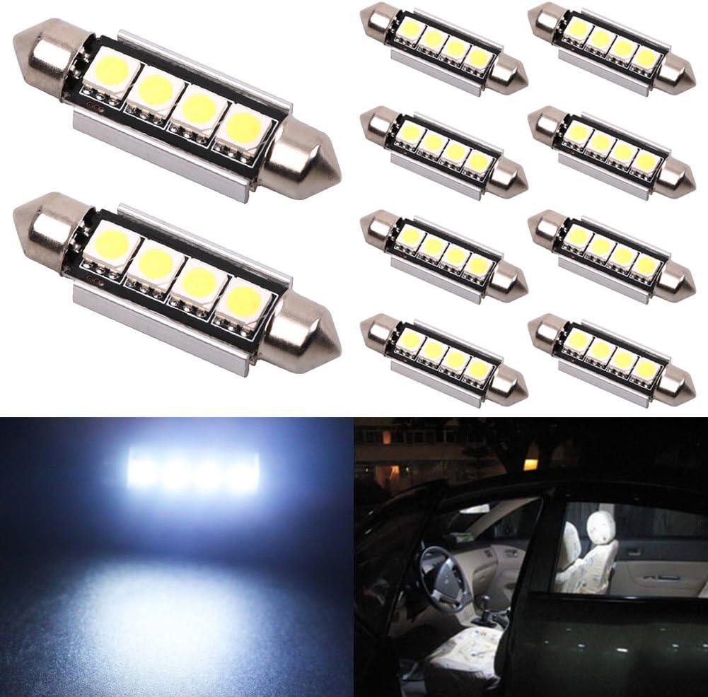 4-smd 5050 Chipset Super Bright Festoon White LED Bulbs CanBus Error Free De3175 Super White Bulb Fit for 3157 LED Pack of 2 De3157 Bulb TABEN 31mm 1.25