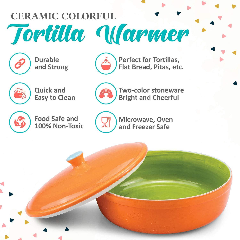 geeignet als Pfannkuchen und Chips Aufbewahung- Mikrowelle und Ofen sicher Servieren zur Party oder Fiesta zu Hause Uno Casa Keramik Tortilla W/ä rmer 22cm Durchmesser COMINHKPR130702