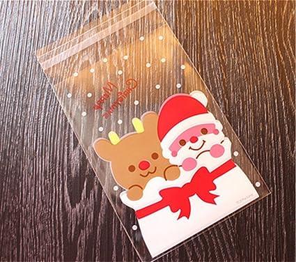Demarkt 100 Pcs Sacs à Bonbons Transparent Sac Cadeau Autocollant Plastique  Biscuit pour Décoration Cookies Chocolat 4751de87a959