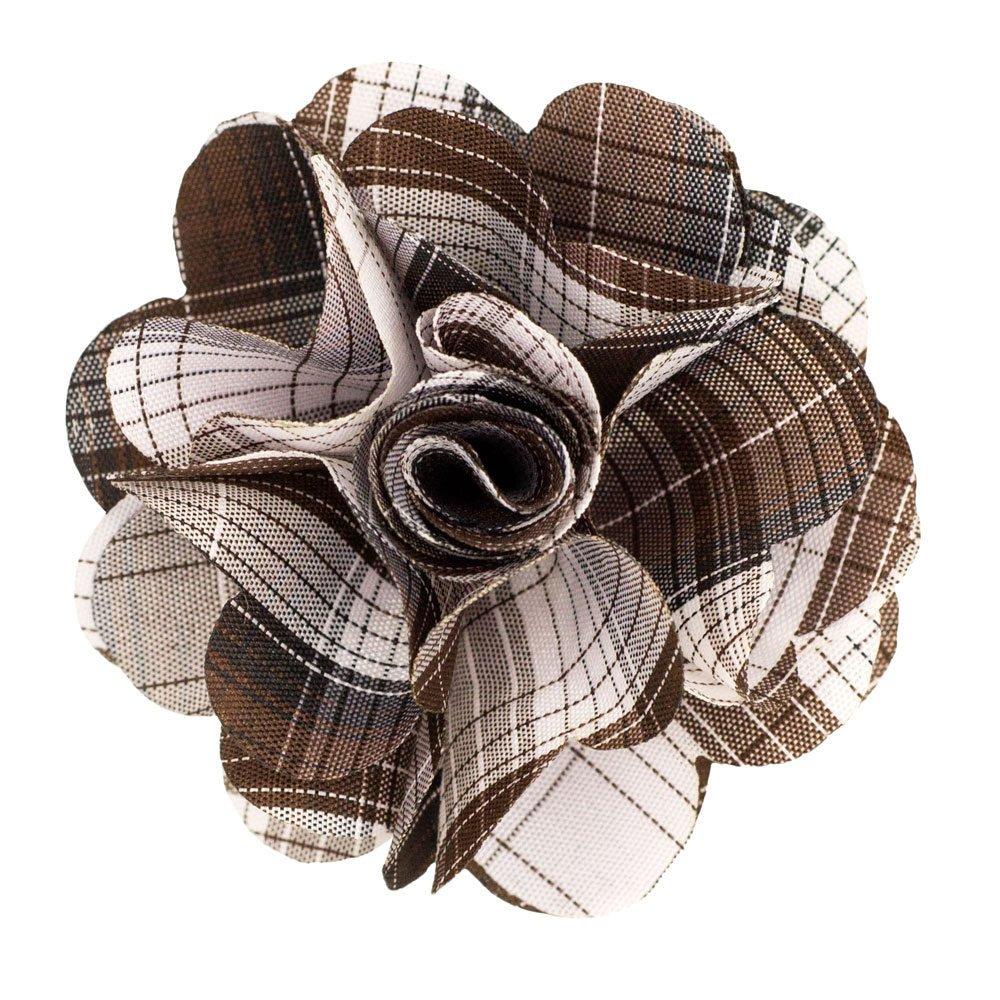 Men's Lapel Flower . Brown Plaids
