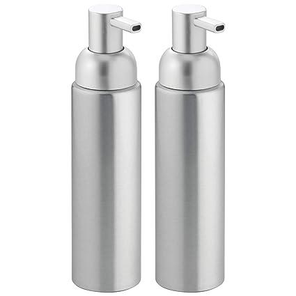 mDesign Dispensador de jabón rellenable - Dosificador de jabón líquido, en aluminio inoxidable - Para