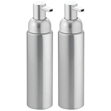 mDesign Dispensador de jabón rellenable - Dosificador de jabón líquido, en aluminio inoxidable - Para jabón, loción, shampoo o gel mDesign - Color plata ...