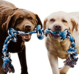Dog Rope Toy for Aggressive Chewers - Medium to Large Breed Dogs | Extra-Large Tug of War Toy for Bonding with your Best Friend | 100% Cotton Chewing Rope - 36 Inches Long | Washable Blue| Bonus eBook