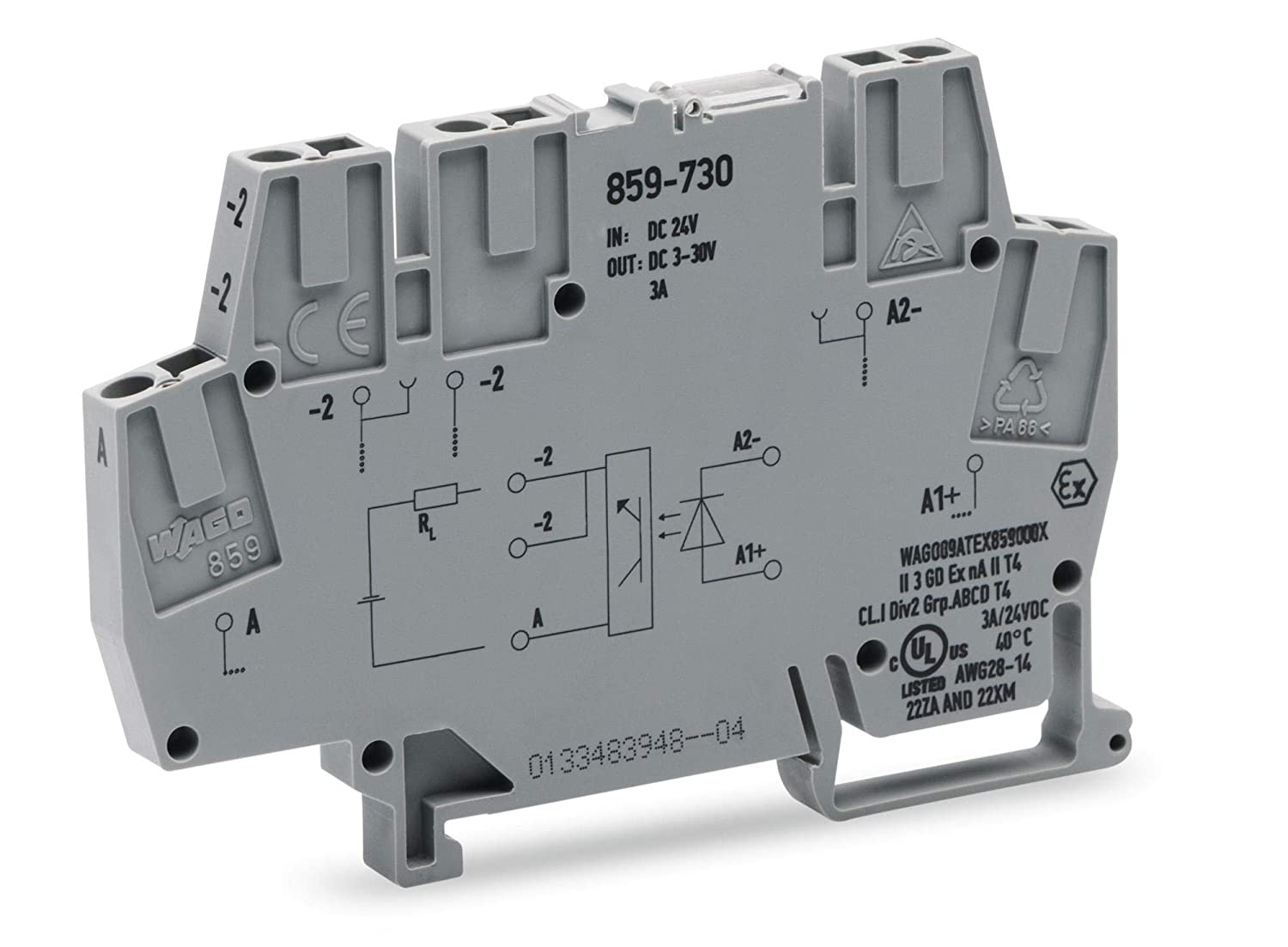 28 AWG WAGO 859-730 DIN Rail Mount Terminal Block 2.5 mm? 3 A Clamp 5 Positions Optocoupler 14 AWG