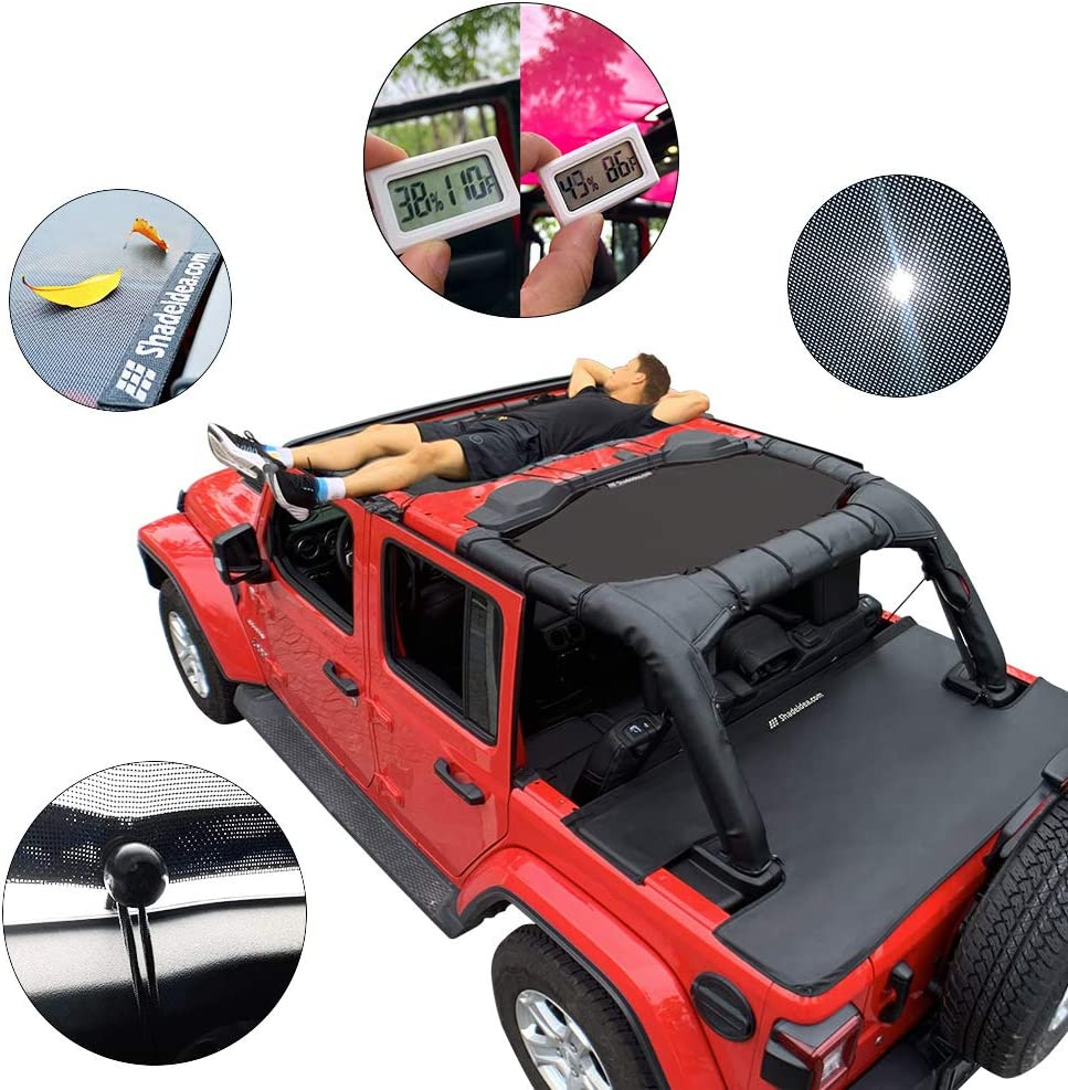 Shadeidea Jeep Wrangler Sun Shade JL Unlimited 4 Door Front and Rear 2 piece-Black Mesh Screen Sunshade JLU Top Cover UV Blocker with Grab Bag-One time Install 10 years Warranty
