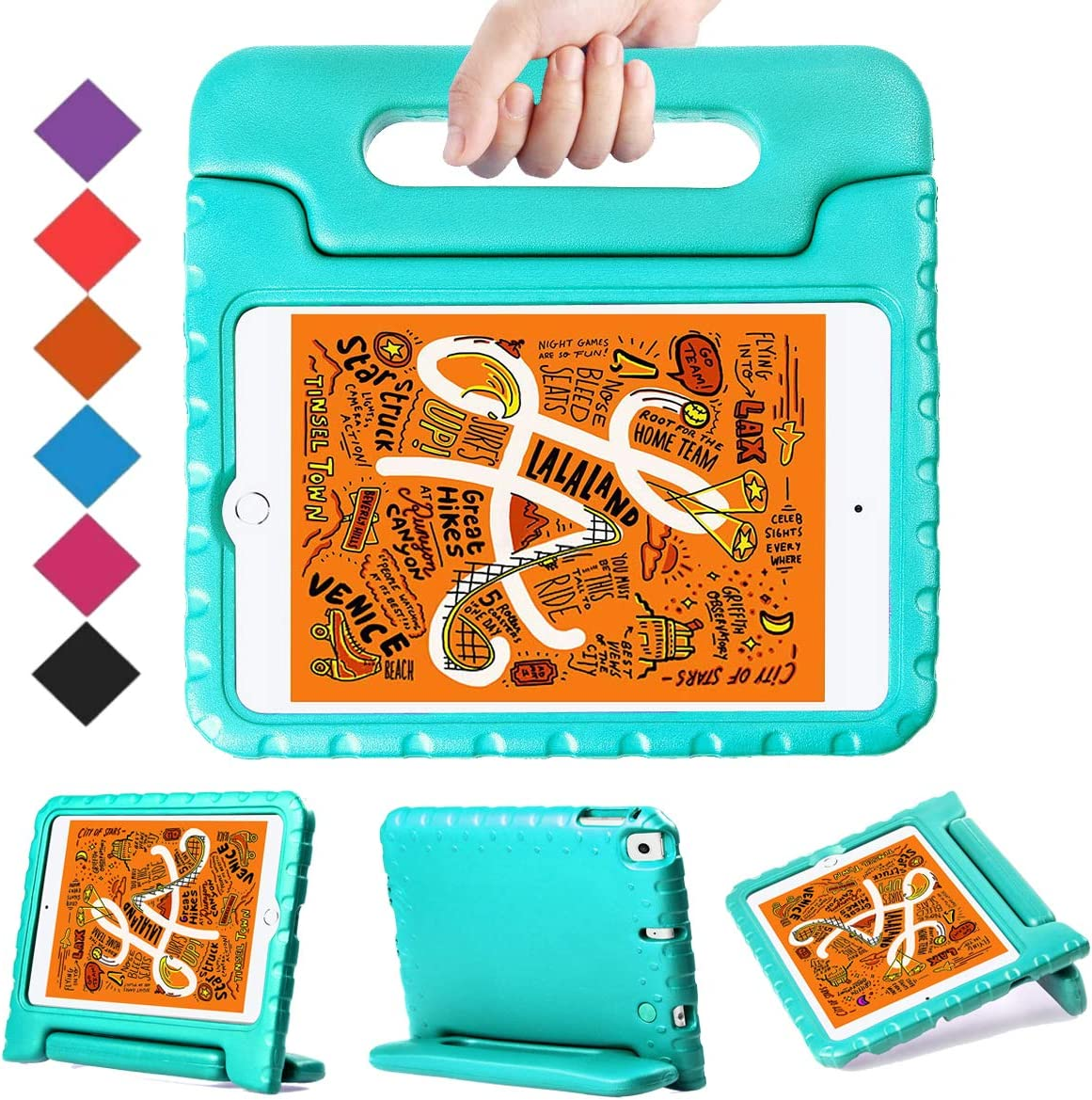 BMOUO Kids Case for New iPad Mini 5 2019 /iPad Mini 4 2015 - Light Weight Shockproof Protective Convertible Handle Stand Case Cover for iPad Mini 5th Generation 7.9