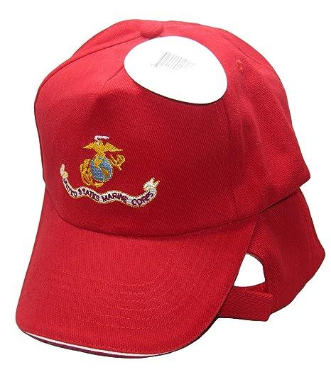 USMC Marines Marine Corps Red Vintage EGA Ball Cap Hat Cover Plain ... 66d1969edb5