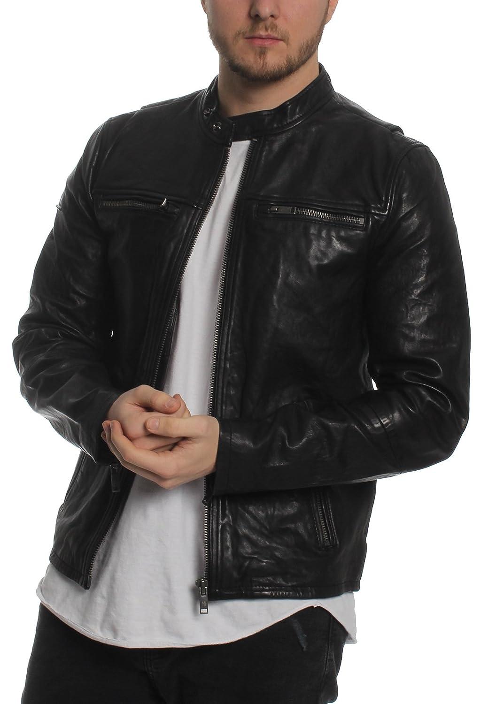 57813c5c0 Superdry Mens Real Hero Leather Biker Jacket In Black