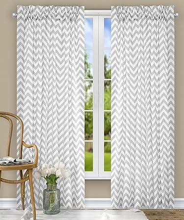 Ellis Curtain Reston Chevron Stripe Tailored Panel Curtain, 50 x 63 , Sterling