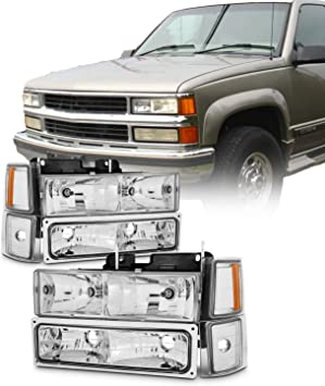 Headlight Assembly for 94-98 Chevy C//K 1500 2500 3500 Tahoe Suburban Silverado Headlamps Replacement Driver and Passenger Side+Bumper /& Corner Lights Black/&Yellow