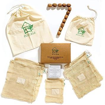 Bolsa de fruta y verdura bolsa de la compra con bolsa de pan de ecocasa de algodón – sín plástico – reciclable – Shopper entresijo paquete de 7 de 1x ...