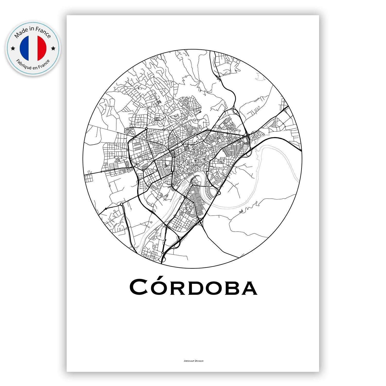 Cartel Córdoba España Minimalista Mapa - City Map, decoración, regalo: Amazon.es: Handmade
