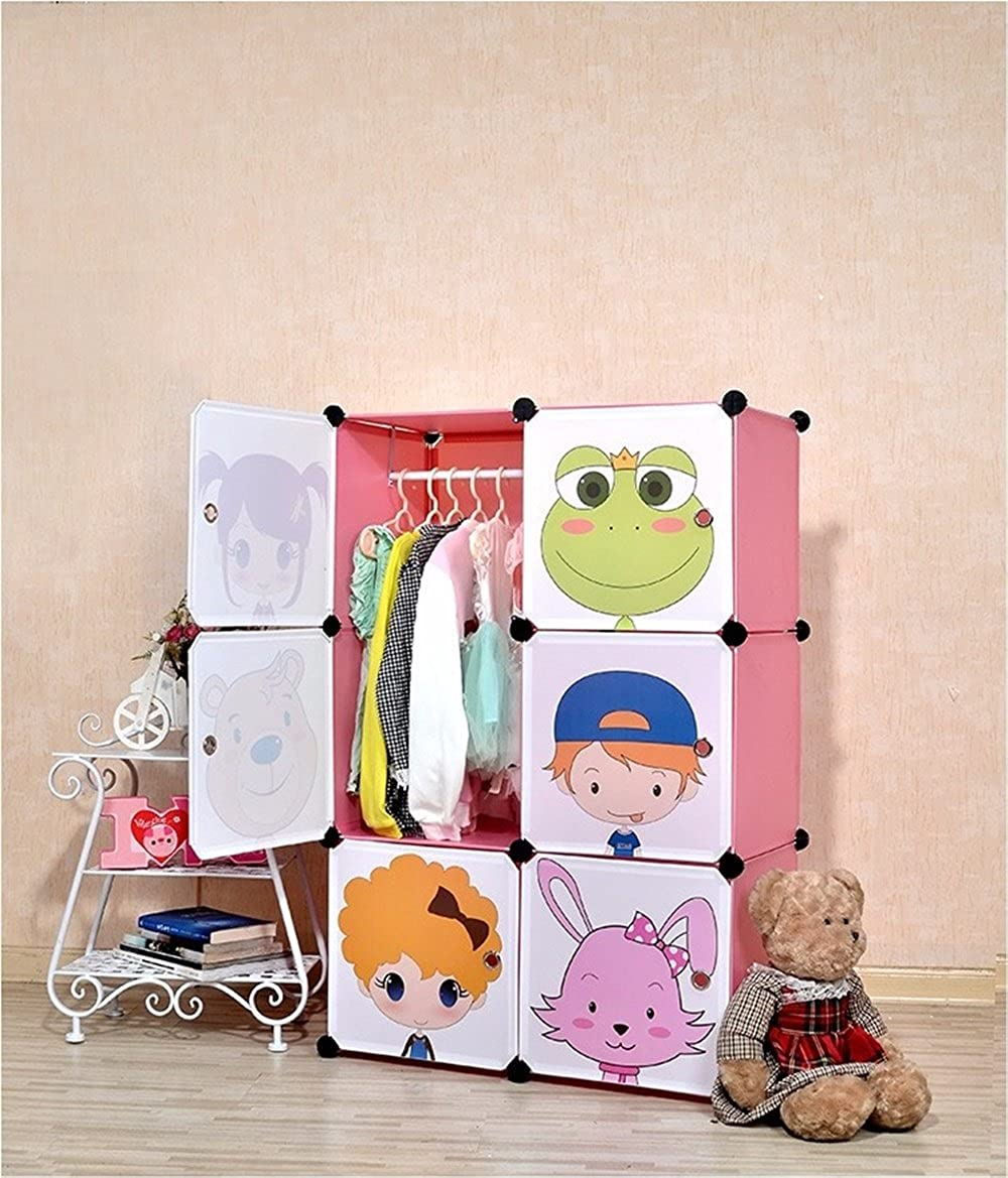 Thetickletoe diy plastic cartoon wardrobe kids children girls room decor furniture closet storage organizer pink colorful 6 cubes amazon in home kitchen