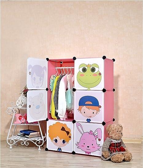 TheTickleToe DIY Plastic Cartoon Wardrobe Kids Children Girls Room Decor Furniture Closet Storage Organizer Pink Colorful