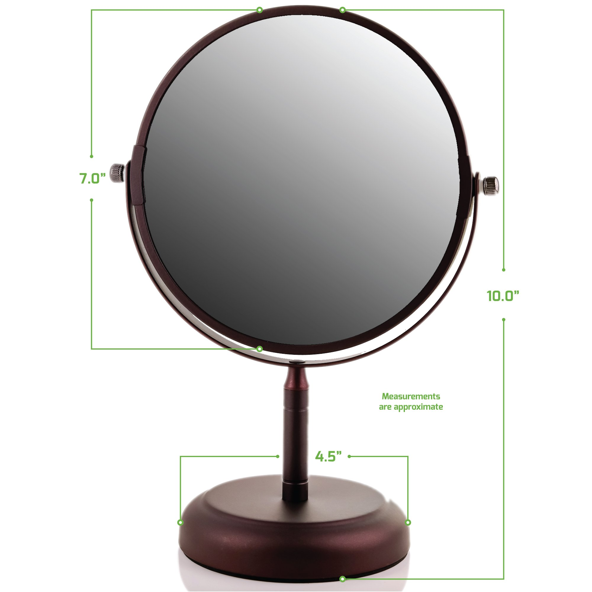 Ovente Round Tabletop Vanity Mirror, 7 Inch, Dual-Sided with 1x/5x magnification, Antique Bronze (MNLDT70ABZ1X5X) by Ovente (Image #9)