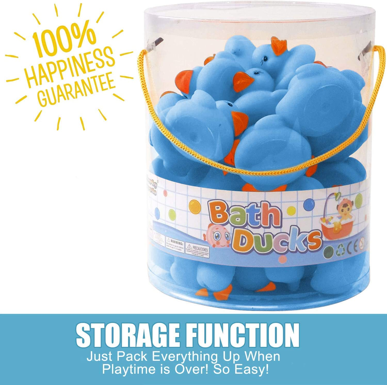 Liberty Imports 36 Pieces Classic Rubber Duck Bath Toys Kids Gifts Float Squeak Squirt Duckies for Boys Baby Shower Party Favors Blue