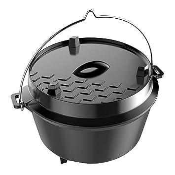 Dutch Oven 8 Liter Gusseisenkessel Feuertopf: Amazon.de: Garten