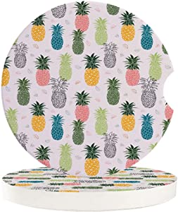 Chic D Drinks Car Coasters 2 Pack for Women/Men, Absorbent Ceramic Automotive Cup Holder Coaster Set, Colorful Pineapple Funny Car Accessories for Car Living Room Kitchen Office, Tropical