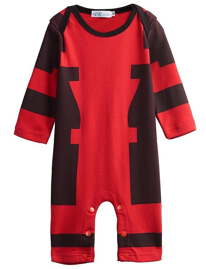d321c90c4655d Amazon.com  A J DESIGN Baby Boys  Deadpool Long Sleeve Romper Costume (3-6  Months)  Clothing