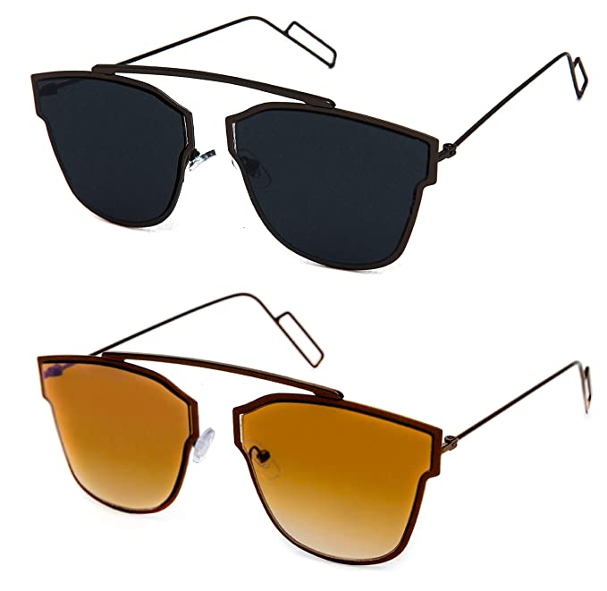 6218de1298c TheWhoop Combo UV Protected New Stylish Goggles Black And Brown Aviator  Sunglasses For Men