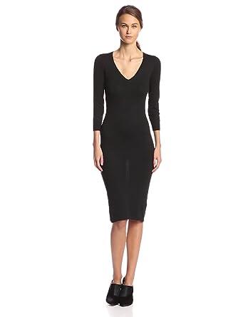 V-neck black sweater dress