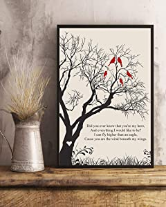 GEHUA06 Song Lyric Print with Frame-Wind Beneath My Wings Lyrics Portrait Poster Print-dercor for Home,Office,Cafe and hotel-14x11in