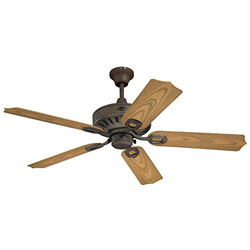 Westinghouse Lighting 7209800 Lafayette 52-inch Indoor Ceiling Fan, Light Kit with Yellow Alabaster Glass, Weathered Iron with LED Bulb