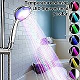 BESTOMZ LED Duschkopf Wellnessbrause Handbrause Brausekopf Bunt Multicolor Mehrfarbig mit Licht Farbwechsel 7 Farbe automatic