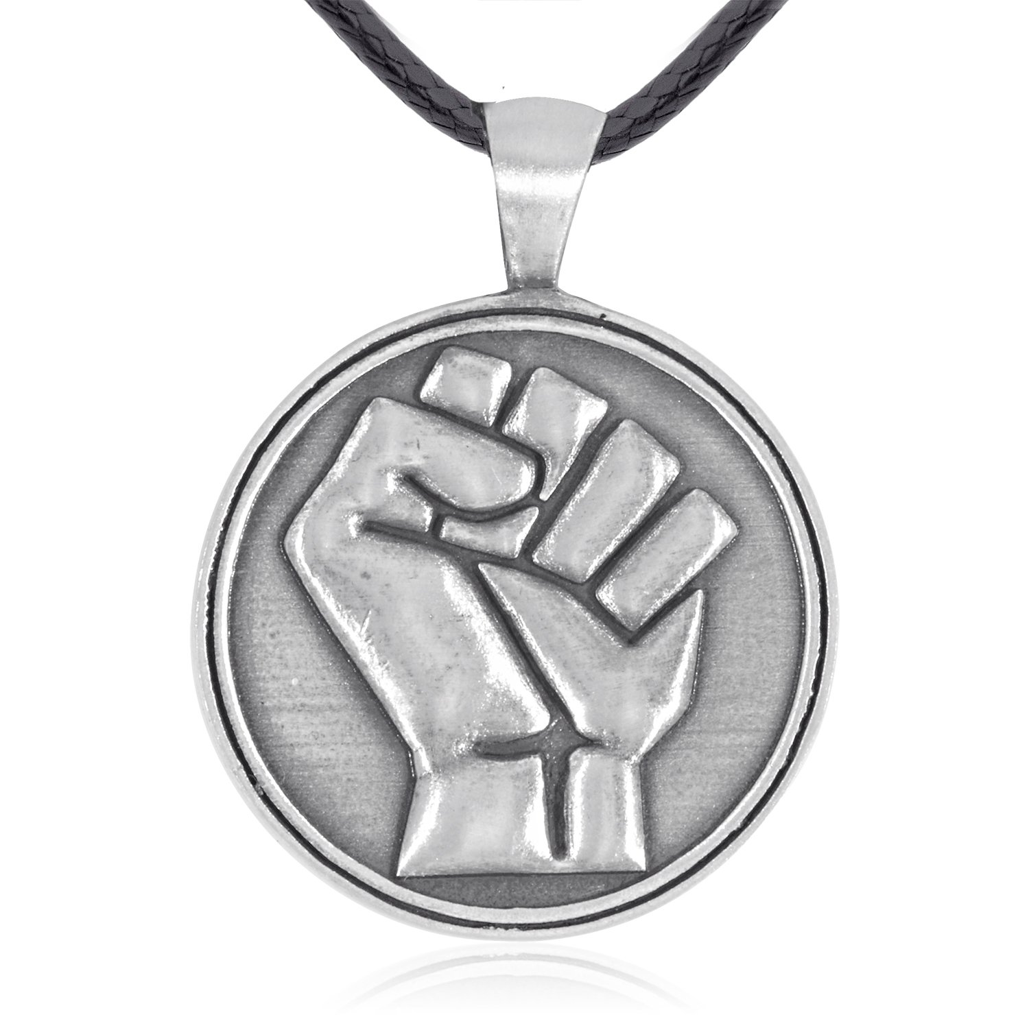 Dan's Jewelers Resistance & Unity Clenched Raised Fist Pendant Necklace, Fine Pewter Jewelry