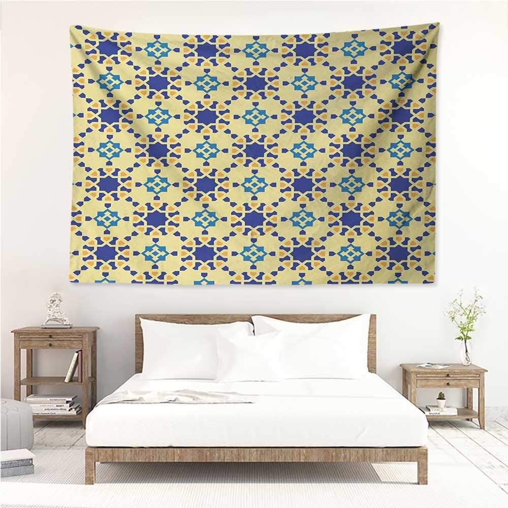 alisos Ethnic,Room Tapestry Moroccan Ceramic Motif with Arabesque Persian Folk Effects Antique Design 60W x 51L inch Wall Decoration Tapestry Beach Mat Violet Blue Yellow