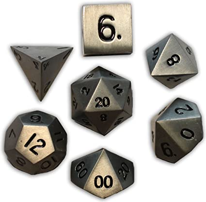 Amazon Com Norse Foundry 7pc Rpg Metal Dice Set Aged Mithril Toys Games A full metal 25mm dice made by norse foundry. norse foundry 7pc rpg metal dice set aged mithril