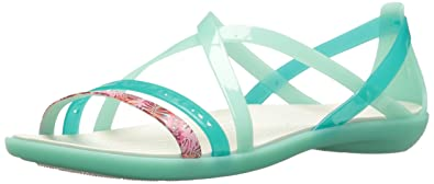2972276b48f Crocs Women s Isabella Cut GRPH Strappy SNDL Flat Sandal New Mint Oyster 5  ...