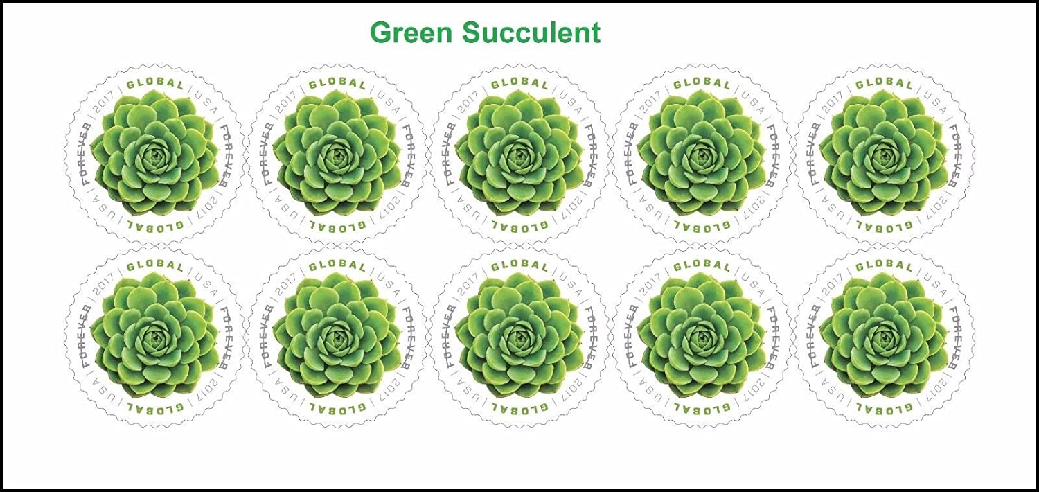 Global: Green Succulent USPS International Forever Stamps Sheet of 10 - 2017