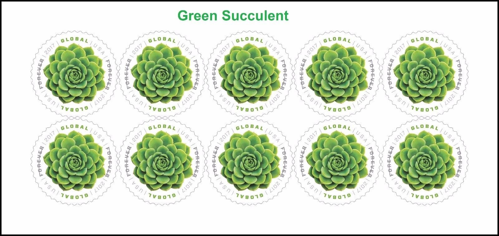 2017 Global Green Succulent International Forever Stamps Sheet of 10 Scott 5198 By USPS