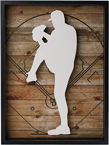 NIKKY HOME 12″ x 16″ Baseball Pitcher Wooden Framed Wall Art