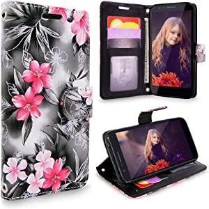 Cellularvilla LG Aristo 2 Plus/LG Aristo 2/LG Zone 4/LG Tribute Dynasty/LG Aristo 2 KC1 Case, [Card Slot] Leather Wallet [Wristlet] Flip [Stand Feature] Case Cover for LG K8 2018 (Black Pink Flower)
