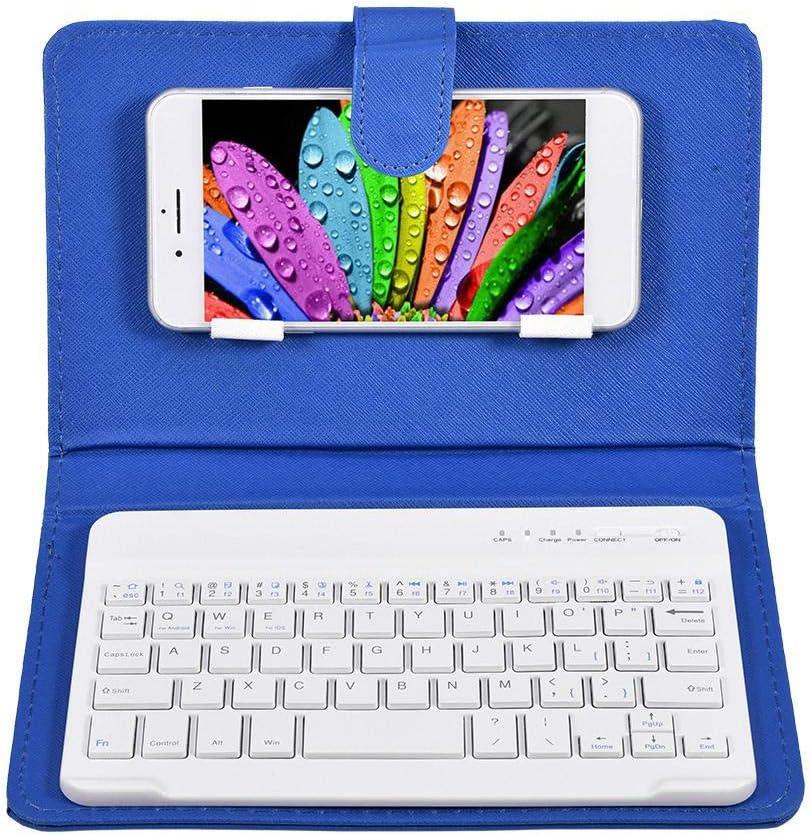 Goshyda Teclado y Funda para teléfono, Funda Protectora Universal con Teclado inalámbrico Bluetooth Desmontable con Soporte para iOS/para Windows/para ...