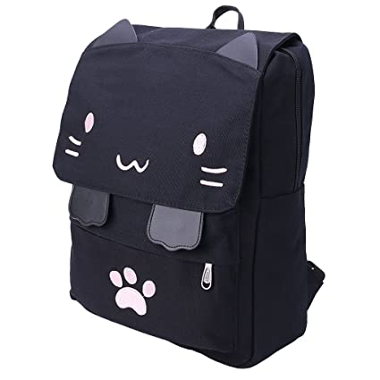 Junlinto Women Girl Mochila Cute Cat Canvas Print Mochilas Escolares Bookbag Mochila Satchel-Pink